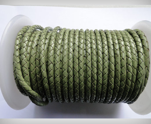 Round Braided Leather Cord SE/B/18-Asparagus - 4mm