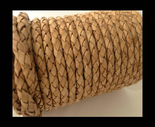 Round Braided Leather Cord SE/B/2000-Vintage Beige-6mm