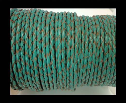Round Braided Leather Cord SE/B/2007-Sea blue - 4mm