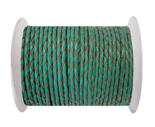 Round Braided Leather Cord SE/B/2007-Sea blue -8mm