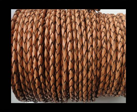 Round Braided Leather Cord SE/B/2011-Pumpkin - 4mm