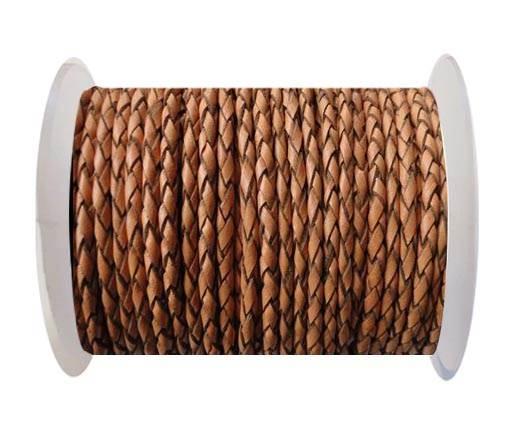 Round Braided Leather Cord SE/B/2011-Pumpkin - 4mm
