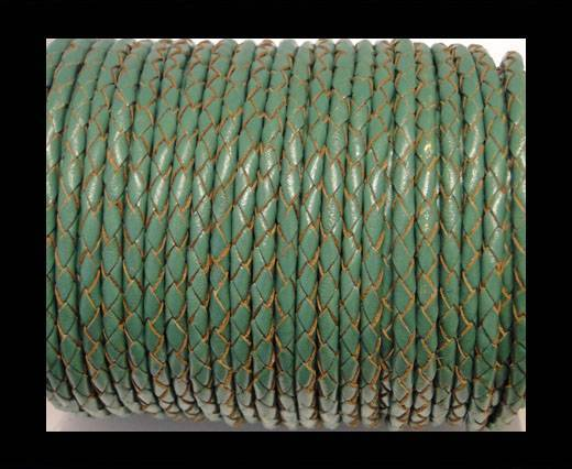 Round Braided Leather Cord SE/B/2015-Forest Green-6mm