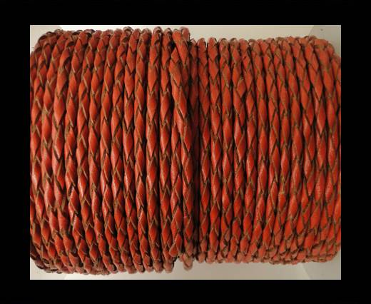 Round Braided Leather Cord SE/B/2016-Brick - 4mm