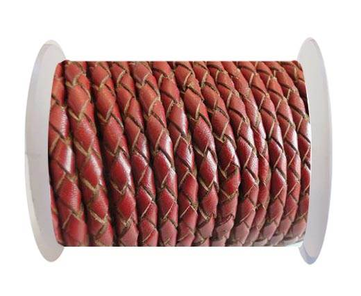 Round Braided Leather Cord SE/B/2021-Red Wine-4mm