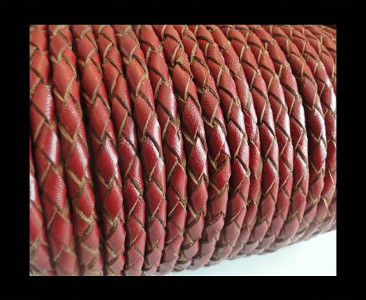 Round Braided Leather Cord SE/B/2021-Red Wine-5mm