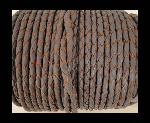 Round Braided Leather Cord SE/B/2023-Violet Plum-3mm