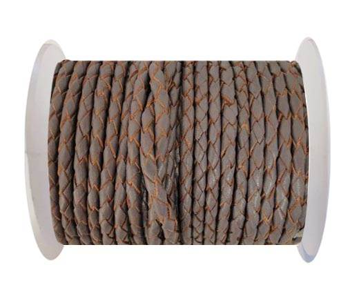 Round Braided Leather Cord SE/B/2023-Violet Plum-4mm