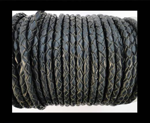 Round Braided Leather Cord SE/B/20-Coal - 4mm