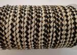 Round Braided Leather Cord SE/B/21-Black-White - 4mm
