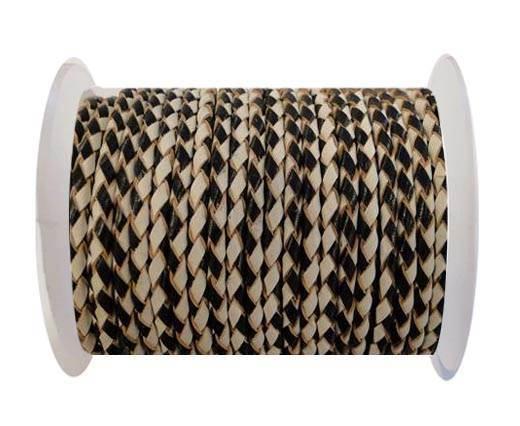Round Braided Leather Cord SE/B/21-Black-White-6mm