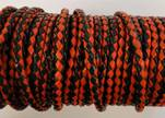 Round Braided Leather Cord SE/B/22-Red-Black - 4mm