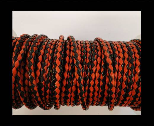 Round Braided Leather Cord SE/B/22-Red-Black-8mm