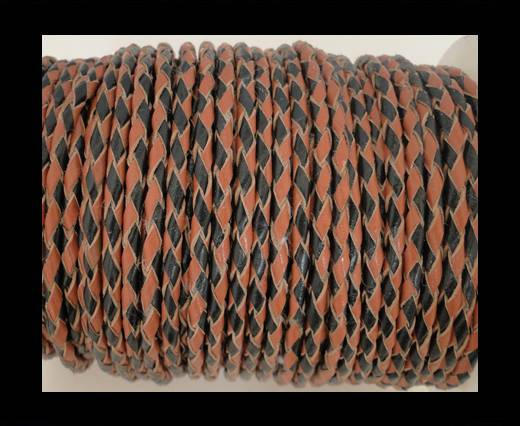 Round Braided Leather Cord SE/B/23-Black-Hazelnut - 8mm