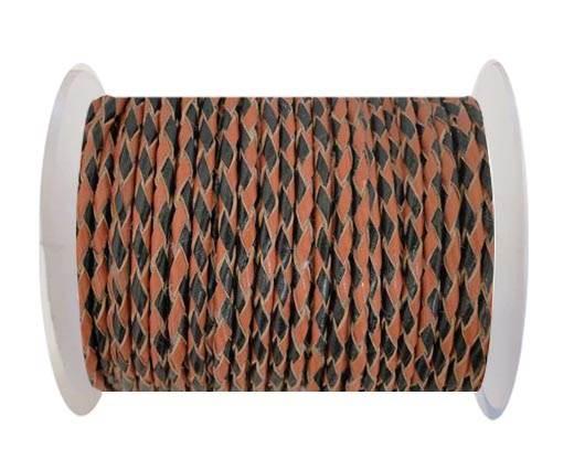 Round Braided Leather Cord SE/B/23-Black-Hazelnut - 4mm