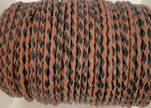 Round Braided Leather Cord SE/B/23-Black-Hazelnut - 5mm