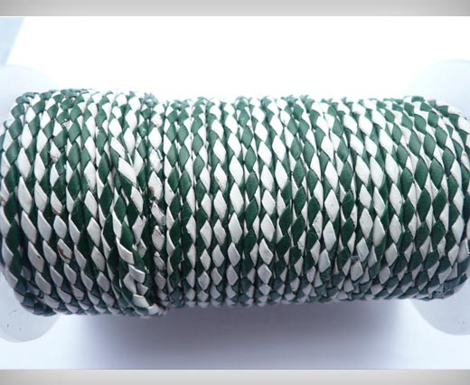 Round Braided Leather Cord SE/B/25-Green-White - 4mm