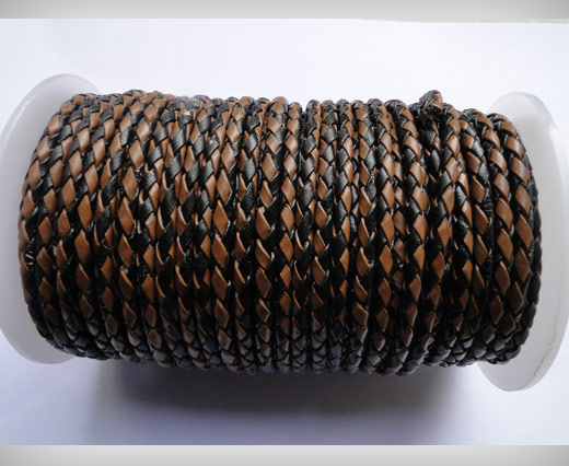 Round Braided Leather Cord SE/B/26-Black-Brown - 4mm
