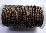 Round Braided Leather Cord SE/B/26-Black-Brown - 5mm