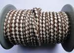 Round Braided Leather Cord SE/B/27-Brown-White - 4mm