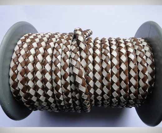 Round Braided Leather Cord SE/B/27-Brown-White - 8mm