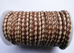 Round Braided Leather Cord SE/B/29-Brown-Natural - 4mm