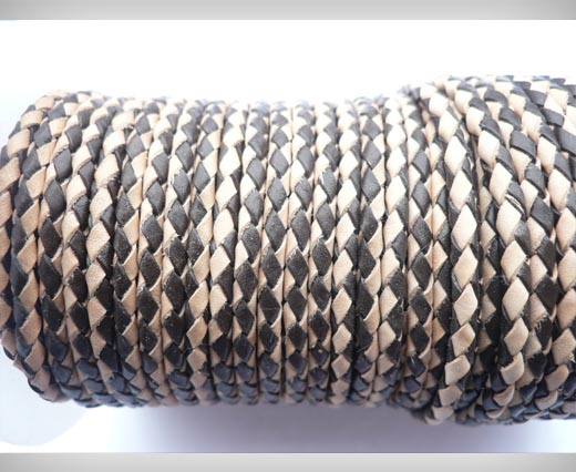 Round Braided Leather Cord SE/B/30-Dark Brown-Natural - 4mm