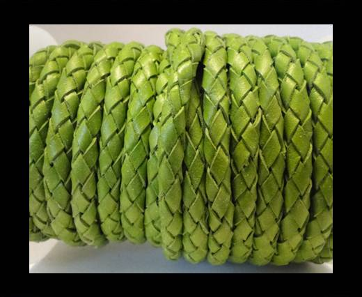 Round Braided Leather Cord SE/B/522-Light Green - 8mm