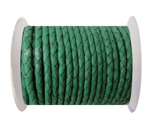 Round Braided Leather Cord SE/B/523-Moss Green-4mm