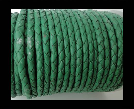 Round Braided Leather Cord SE/B/523-Moss Green-6mm