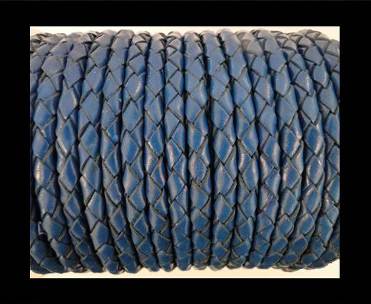 Round Braided Leather Cord SE/B/537-Denim - 4mm