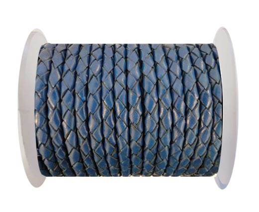 Round Braided Leather Cord SE/B/537-Denim - 4mm