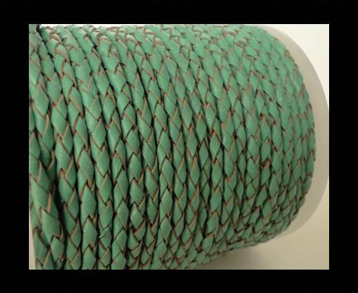 Round Braided Leather Cord SE/B/540-Mint - 4mm
