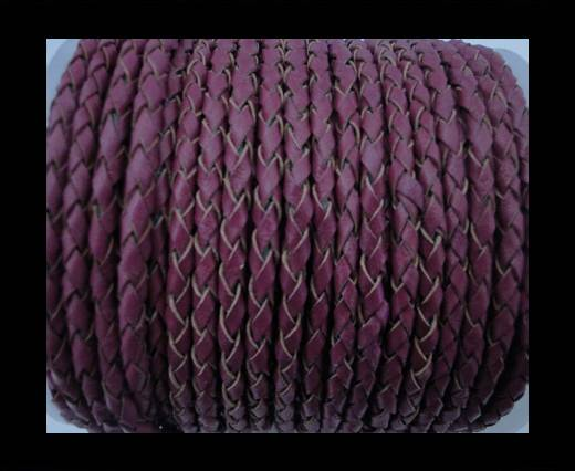 Round Braided Leather Cord SE/B/543-Plum - 6mm