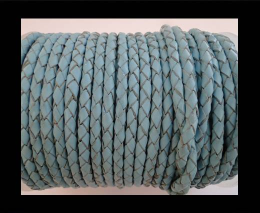 Round Braided Leather Cord SE/B/545-Baby blue - 4mm