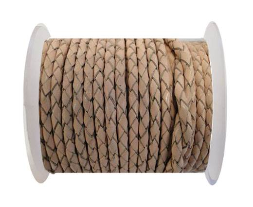 Round Braided Leather Cord SE/B/2000-Vintage Beige - 5mm