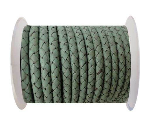 Round Braided Leather Cord SE/B/616-Pastel Mint - 4mm