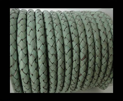 Round Braided Leather Cord SE/B/616-Pastel Mint - 6mm