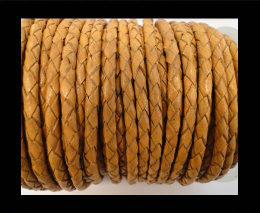 Round Braided Leather Cord SE/B/712-Camel - 3mm