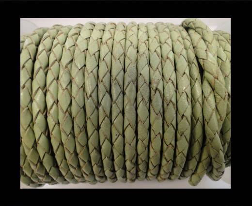 Round Braided Leather Cord SE/B/516-Pastel Green - 4mm