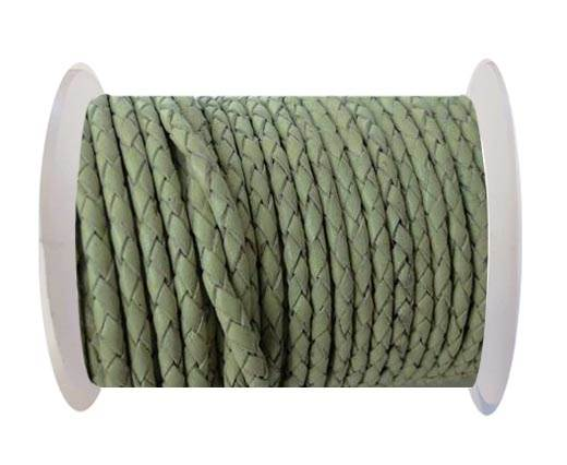 Round Braided Leather Cord SE/B/716-Pastel Lime-4mm
