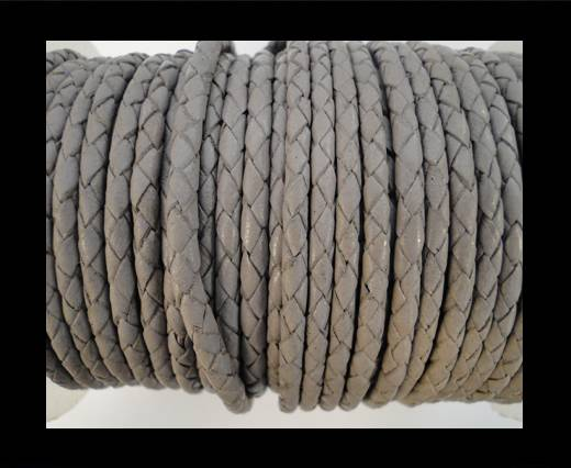 Round Braided Leather Cord SE/B/717-Light Grey - 4mm