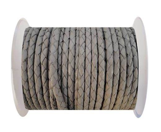 Round Braided Leather Cord SE/B/717-Light Grey - 4mm