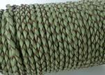 Round Braided Leather Cord SE/B/718-Asparagus-natural edges - 5m