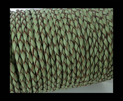 Round Braided Leather Cord SE/B/718-Asparagus-natural edges - 5m