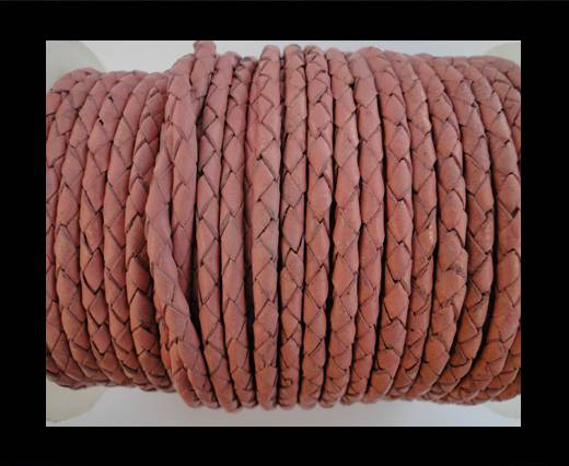 Round Braided Leather Cord SE/B/722-Rose - 4mm