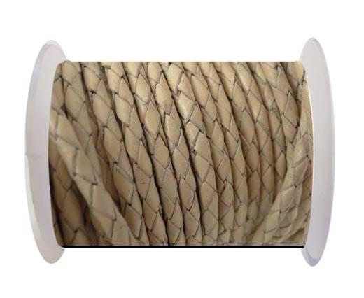 Round Braided Leather Cord SE/B/727-Beige-4mm