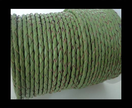 Round Braided Leather Cord SE/B/730-Green Tea - 4mm