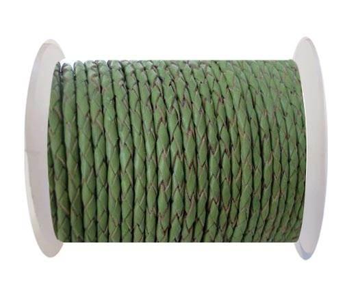 Round Braided Leather Cord SE/B/730-Green Tea - 4mm