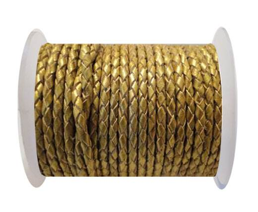 Round Braided Leather Cord SE/M/Golden - 4mm